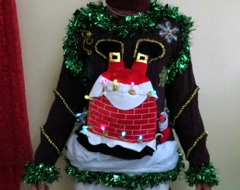 Custom Hilarious! Light up Santa Stuck in Chimney 3d tacky Ugly Christmas Sweater  mens or Womens Made to Order