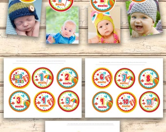 Summer / Beach 12 month Photo Birthday Banner  1 year Picture Banner 1st birthday party decorations DIY Printable PDF File