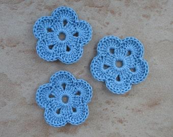 set of 3 blue flowers 5 petals crochet