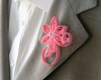 Baby Pink Boutonniere, Baby Pink Buttonhole, Pink Wedding Boutonniere, Boutonniere for Wedding