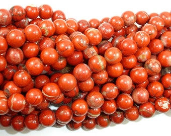 Red Jasper Beads, Round, 8 mm, 16 Inch, Full strand, Approx 47 beads, Hole 1 mm(371054006)