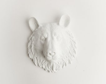 White Bear Head Wall Mount - The Brunskie Mini White Resin Bear Head Wall Decor - Chic Bear Decor & Animal Wall Art by White Faux Taxidermy
