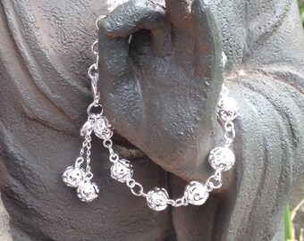 Sterling Silver filigree bead bracelet. Essential Oil diffuser beads