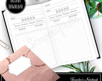Book / Reading Log and Review A5 Half Letter Traveler's Notebook or Binder Printable Insert