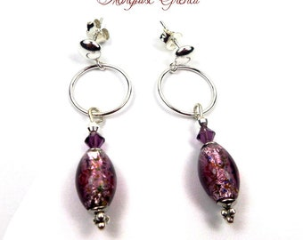 Stud Earrings in plum purple Murano glass Swarovski Crystal silver modern chic