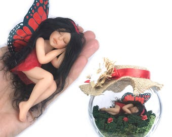 Realistic hand crafted miniature Fairy Jar Enchanted garden red