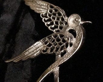 Sarah Coventry Silver Tone Bird Brooch