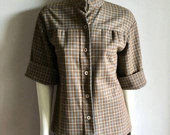 Vintage Women's 60's Brown Checkered, Blouse,Polyester, Short Sleeve (L)