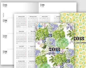 Cahier Traveler's Notebook Insert 2018 Weekly View - Horizontal - Wo2P - PRINTABLE Planner Insert - Minimalist