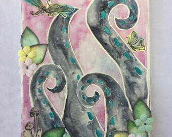 Garden of Tentacles Mixed Media Watercolor