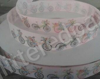 "7/8"" Vintage Bicycles on Light Pink Grosgrain Ribbon"
