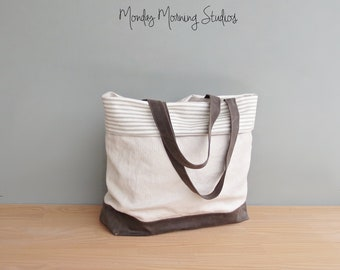 Large Canvas Tote Bag with Light Taupe Striped Ticking, Cuffed Top Large Summer Waxed Canvas Tote with Pockets, Womens Relaxed Vegan Tote