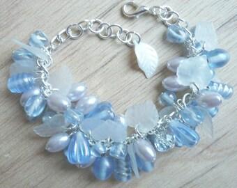 Ice blue Winter-snow bracelet, glass bead cluster bracelet, bead and leaf bracelet, winter bride bracelet, something blue, adjustable length