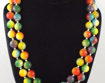1980s - Superb Vintage 2 Strand Harlequin Multicolor Beads Necklace