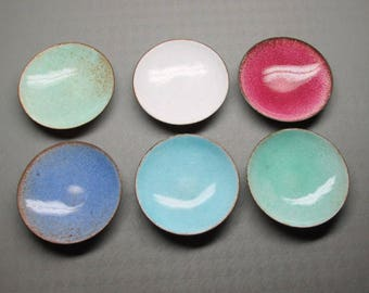 set of 6 enamel on copper small bowls , maybe individual salts or ashtrays , assorted colors.