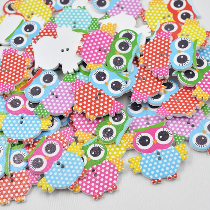 Heart Wooden Buttons Striped Polka Dot Large Two Holes Heart-shaped 25mm 20pcs