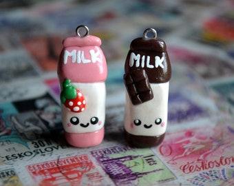 Strawberry / Chocolate Milk Charm - Kawaii Miniature Food Polymer Clay