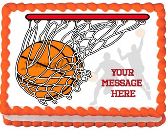 BASKETBALL edible cake topper party image