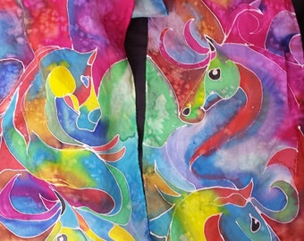 """Horses on Silk scarf, Abstract horses, hand painted, created and dyed by artist M Theresa Brown. Custom colors available 8"""" x 54"""" USA"""