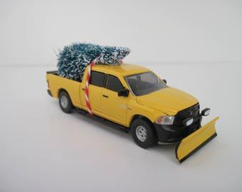 2014 Ram 1500 Tradesman Snowplow - Yellow-Orange - Christmas Ornament, Christmas Village - Christmas Tree Tied to Top