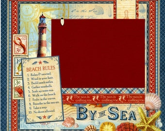 By The Sea - Beach Rules - Premade Scrapbook Page