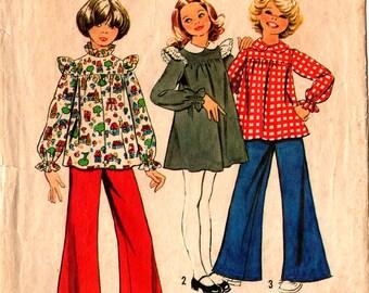 1973 Girls' DRESS TUNIC PANTS Pattern Simplicity #5821 Size 12  Wide-Leg Retro Fashions Vintage Sewing