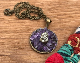 Amethyst & Pyrite Necklace