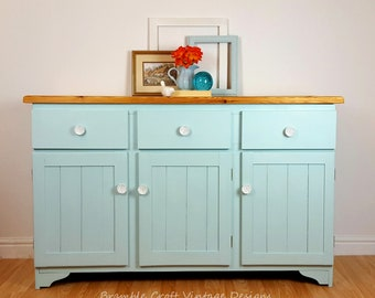 Pine sideboard, cupboard, dresser, storage, display, hand painted, light blue.