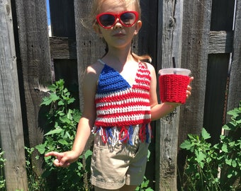 American Flag//USA//Red White & Blue//4th of July Crocheted Kids Top