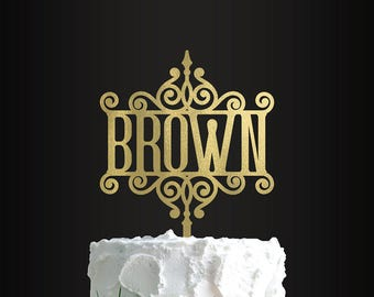 Wedding Cake Topper, Personalized Cake Topper, Custom Cake Topper, Ornamental, Ornate Last Name, Monogram, Cake Topper, Wedding Cake Decor