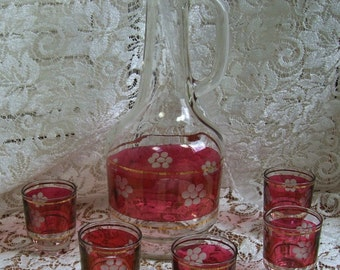 Vintage Brandy  Carafe and Five glasses - Clear glass and red with Cornflower design