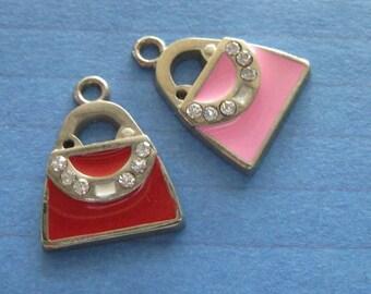 red or pink metal handbag charm with rhinestones x2 pieces