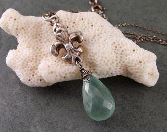 Fluer de lis prehnite necklace, handmade recycled fine silver pendant-OOAK Mardi Gras