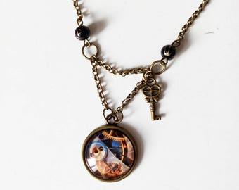 DESTASH necklace bronze, cabochon gears steampunk key