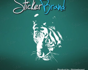 Vinyl Wall Decal Sticker Large White Tiger Face 411B