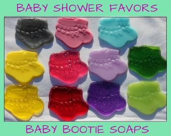 Baby Shower Party Favors - Baby Bootie Soap for Gender Reveal Party, Baby Shower or Baby Sprinkle, Your choice of color & scent - Pack of 25
