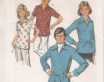 FREE US SHIP Simplicity 6436 Retro 1970's 70's Miss Pullover Tunic Top Collar Size 12 Bust 34 Uncut Sewing Pattern