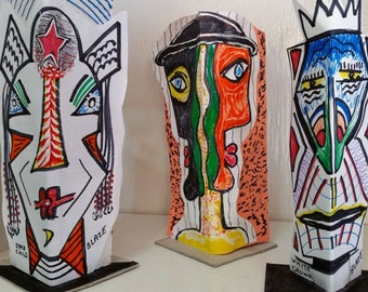 3-D PAPER MASKS by BLAZE! 100% Original and Handcrafted! (100's to Choose From)