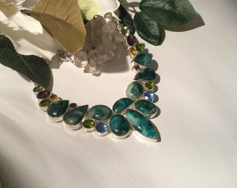 Statement Azurite and Chrysochola necklace.sterling silver, 18 inches