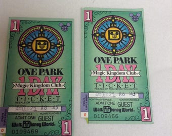 2 VINTAGE Walt Disney World Magic Kingdom Club 1 Day Ticket Christmas Day 1991
