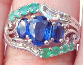 Sz 8.5, Solid 14K White Gold, Blue Sapphire Ring,Emerald & Diamond Accents,Natural Gemstones,UK Estate Jewelry,Promise Ring, Engagement Ring