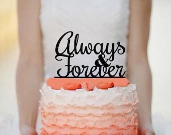 Always & Forever Wedding Cake topper Monogram cake topper Acrylic Cake topper