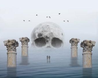 SOLEMN.CROSSING - Print, Digital art, Skull art, Surreal, Modern art