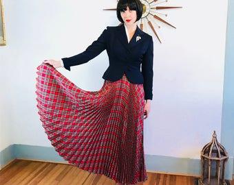 Pleated Maxi Skirt, Plaid maxi skirt, Vintage 50s skirt, Long Taffeta skirt, Accordion pleat,Long plaid skirt,50s Circle Skirt, Tartan print