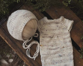 Romper & Bonnet set knit newborn photography prop