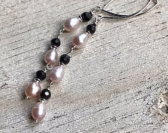 Pink Pearl Black Spinel Sterling  Silver  Long  Dangle  Earrings  Minimalist for Her Under 110, Free US Shipping and Gift Wrap