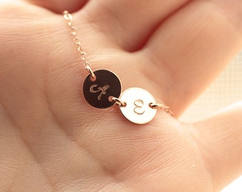 Rose Gold Initial Necklace, Personalized Necklace, TWO Hand Stamped Initial Charms, Mother's Necklace, Bridesmaids Necklace