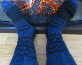 Hand Knitted Mid Calf Length Socks for MEN Size 9-11. Blue with black stipes and square ornaments. Ready to ship.