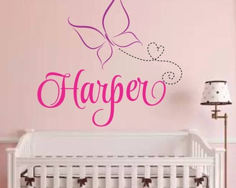 wall decal Butterfly Name girl's room Wall Decals Girls Bedroom Decor- wall Decal Kids Girls Room Home Decor