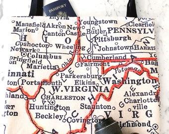 West Virginia Map Tote - West Virginia Map Bag - West Virginia Tote Bag - West Virginia Bag - Travel Tote - West Virginia Tote